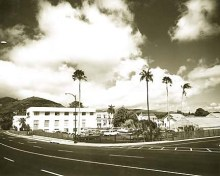 19610213 - The Hawaiian Sugar Planters Association campus in Makiki. BW Star-Bulletin photo.